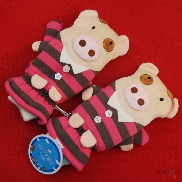 [卖]专柜品质/韩国可爱动物毛绒保暖手套 卡通温暖贴心手套