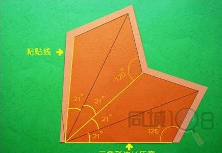 中间三角里面用尺子画出各种图形这就随你自己喽,然后,用小刀把