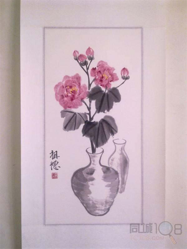 精装表写意花鸟《花瓶中的芙蓉》图片