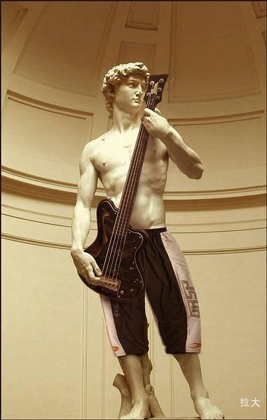 将米开朗基罗著名雕像大卫阿波罗生殖器部位打上马赛