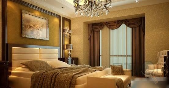 胡桃木家具配窗帘