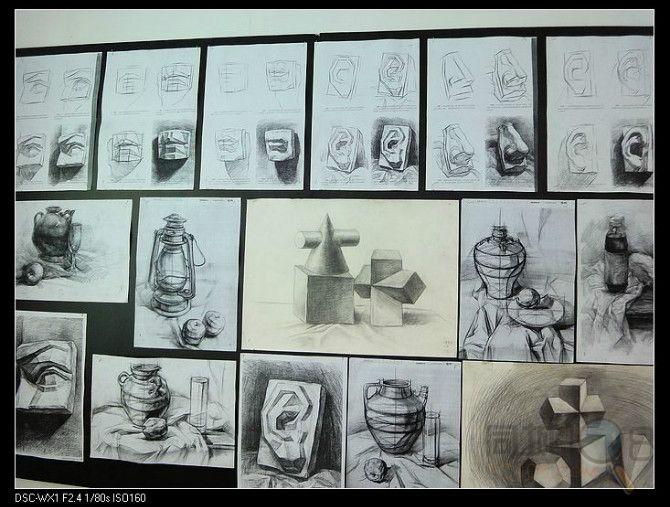 素描锥柱体画法步骤图片