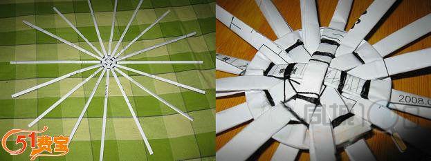 利用交错方法用纸条编织纸筐身,筐身基本完成,高度随意