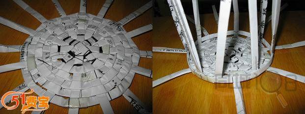 利用交错方法用纸条编织纸筐身,筐身基本完成,高度随意  框