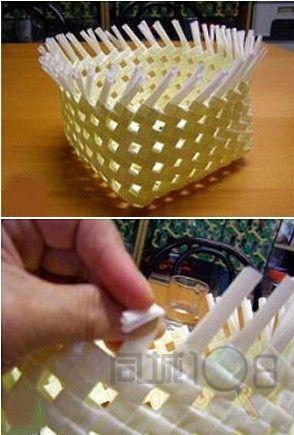 塑料吸管制作收纳筐 吸管编织的做法教程