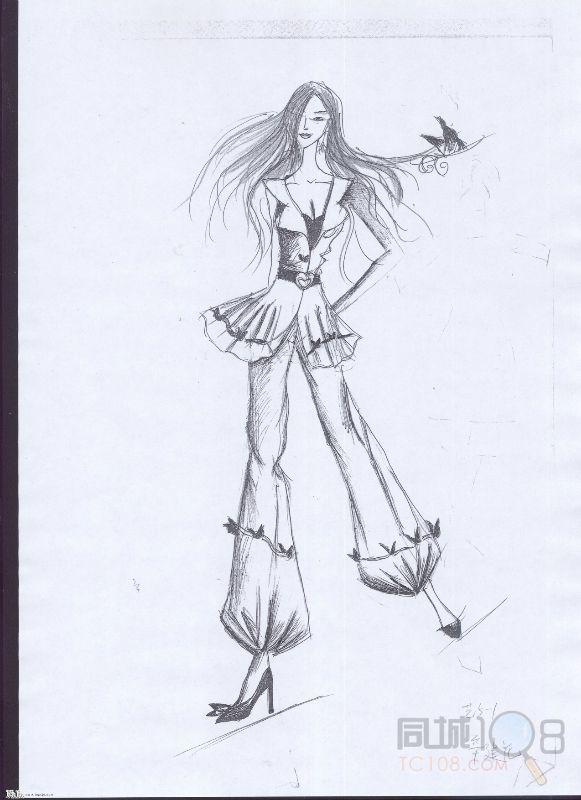 针织衫时装画手绘图