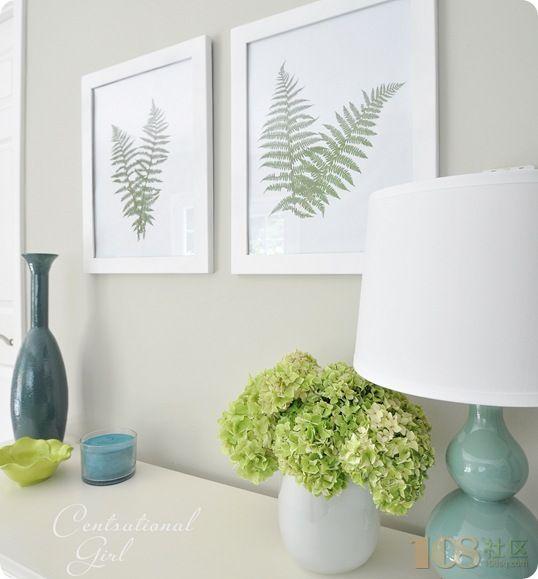 樹葉標本裝飾畫diy 墻上的植物掛飾