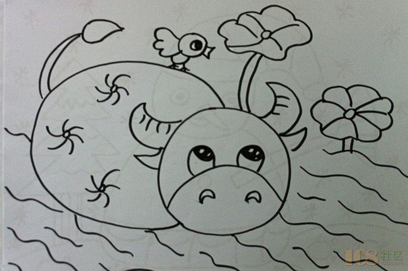 儿童画 简笔画 手绘 线稿 800_532图片