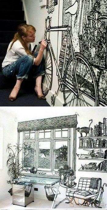 卧室手绘墙装饰设计图片 卧室墙绘图片 墙绘素材