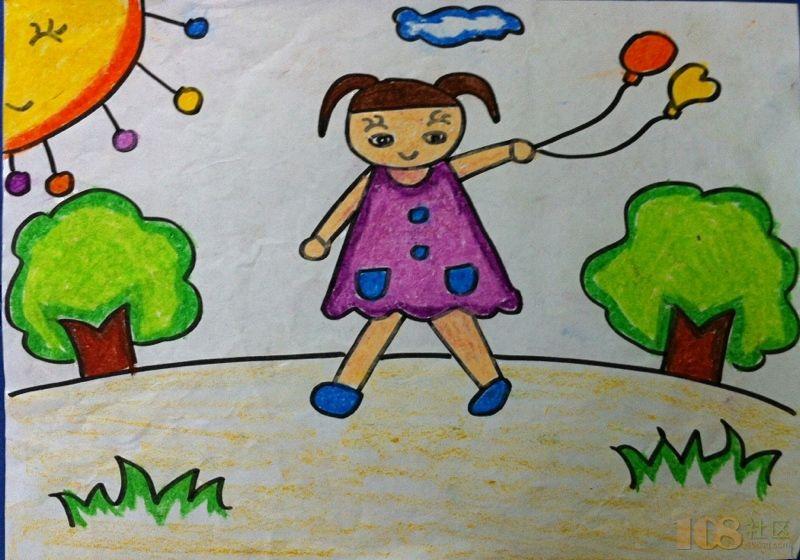 可爱小娃娃白描画